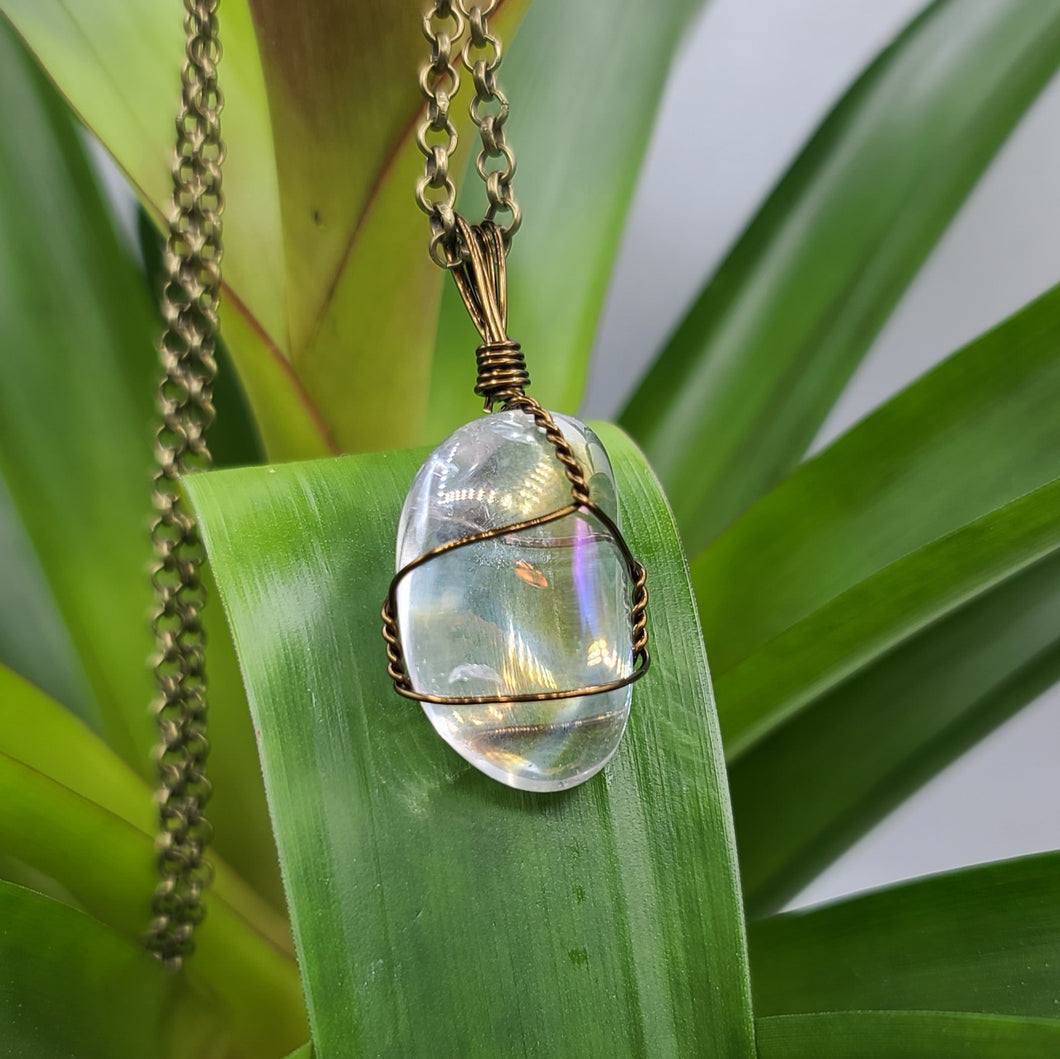 Aura Quartz Crystal Necklace Pendant