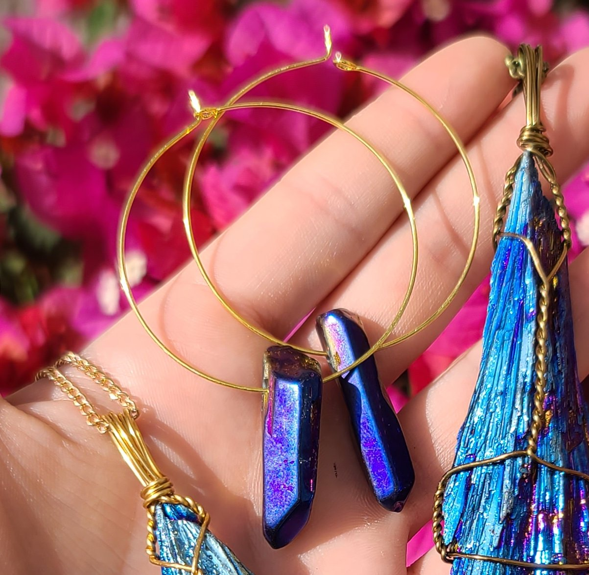 Rainbow Aura Quartz Hoops Earrings