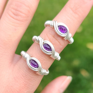 YOU CHOOSE SIZE: Amethyst Sterling Silver Ring