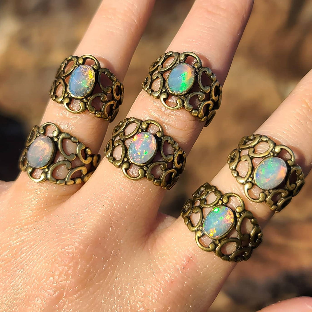 NEW Adjustable Ethiopian Opal Ring