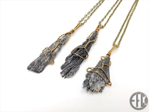 Black Kyanite Necklace Pendant