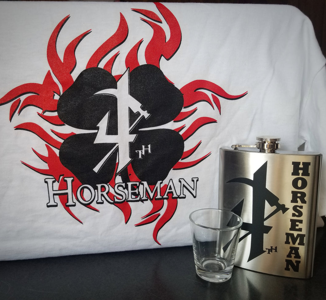 White Short Sleeve 4th Horseman Clover & Flask