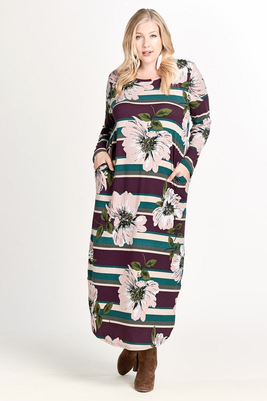 70's Inspired Maxi Dress in Purple - Adventurista Boutique