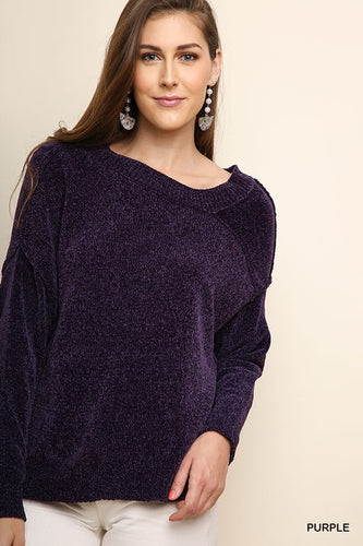 Long sleeve chenille asymmetrical neckline - Adventurista Boutique