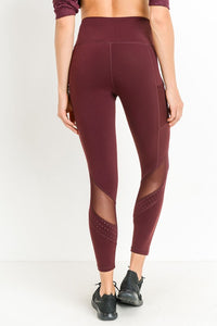 Burgundy Leggings with Mesh Accents - Adventurista Boutique