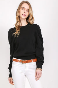 Softly Structured Black Ruffle Sleeve Sweater - Adventurista Boutique