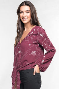 Stars and Planets Bishop Sleeve Blouse - Adventurista Boutique