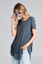 Grey Double Layer Hem Tee - Adventurista Boutique