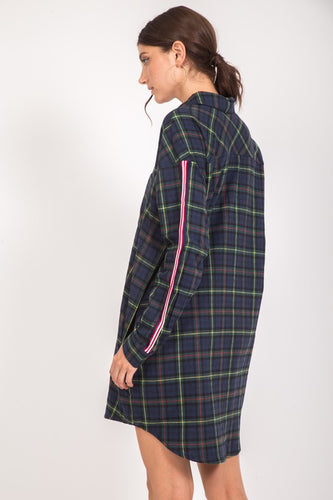 Hunter Green Plaid Flannel with Stripe Detail - Adventurista Boutique