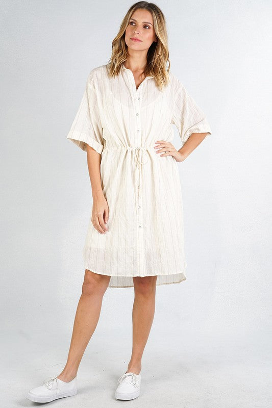 Button Down Collared Shirt Dress - Adventurista Boutique