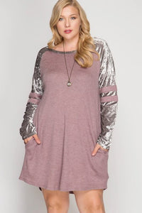 Dusty Rose Shift Dress with Velvet Sleeves - Adventurista Boutique