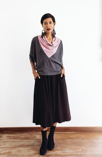 Cowl Neck Top in lavender and slate - Adventurista Boutique