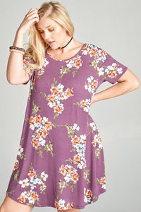 Purple Floral Dress - Adventurista Boutique