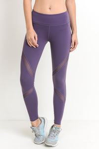 Dark Violet Cross Mesh Panel Full Length Leggings - Adventurista Boutique