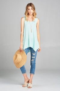 Sleeveless asymmetrical waffle top in Mint - Adventurista Boutique