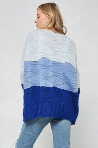 Royal Blue Color block open-front knit cardigan - Adventurista Boutique