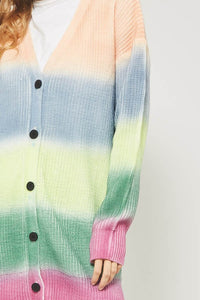 Rainbow ombre color block knit cardigan - Adventurista Boutique