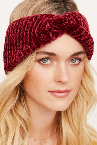 Knotted Turban Chenille Earband - Adventurista Boutique