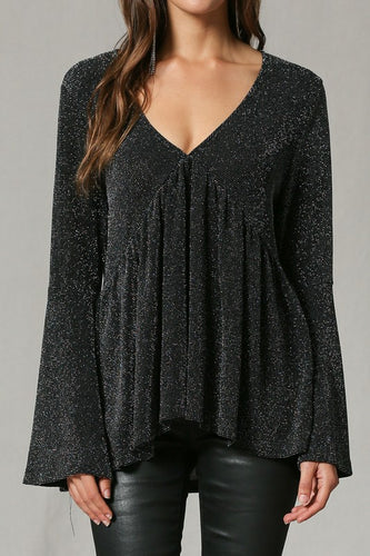 Sparkly Silver V-neck Tunic Top - Adventurista Boutique