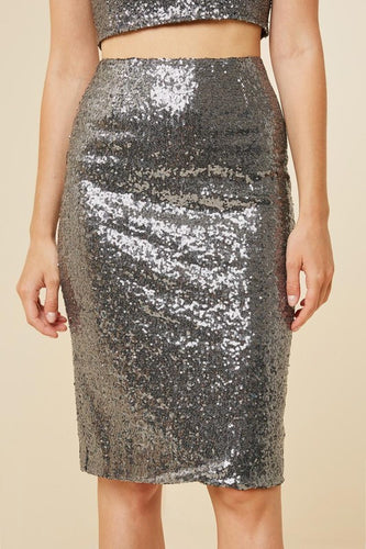 Metallic Sequin Pencil Skirt - Adventurista Boutique