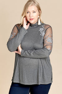 Mock Turtle Neck with Lace Detail - Adventurista Boutique