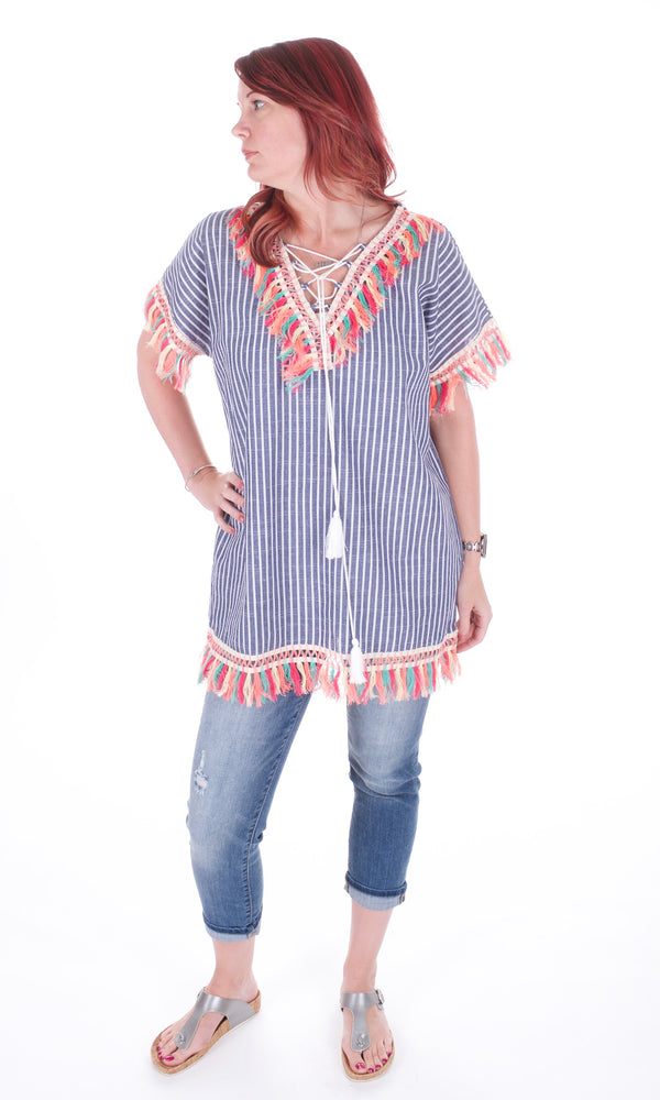 Stripes & Fringe Tunic - Adventurista Boutique