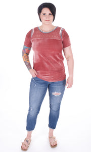 Velvet Short Sleeve Tee - Adventurista Boutique