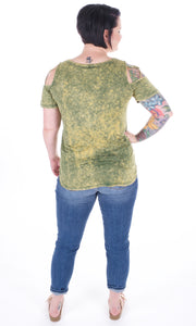 Acid Wash Cold Shoulder - Adventurista Boutique