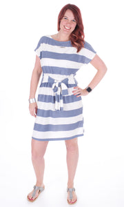 French Terry Dress with Waist Tie - Adventurista Boutique