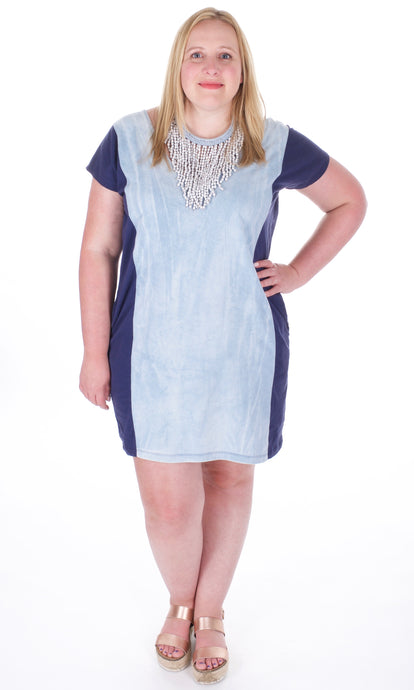 Color Block Shirt-Dress in Blue & Chambray - Adventurista Boutique