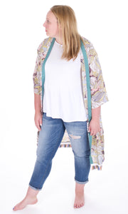 Floral and Fringe Kimono - Adventurista Boutique