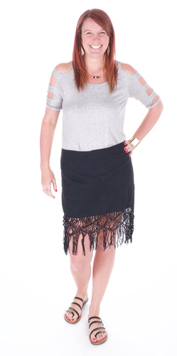 Black Fringe Skirt - Adventurista Boutique