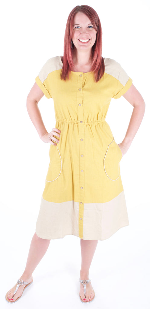 Vintage Inspired Mustard Yellow Dress - Adventurista Boutique