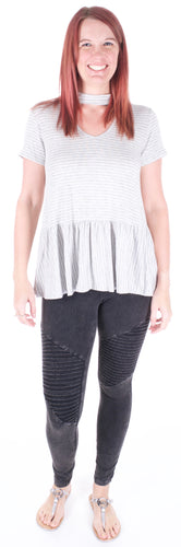 Grey Striped Ruffle Tee - Adventurista Boutique