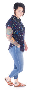 Navy Cactus Button Down Top - Adventurista Boutique