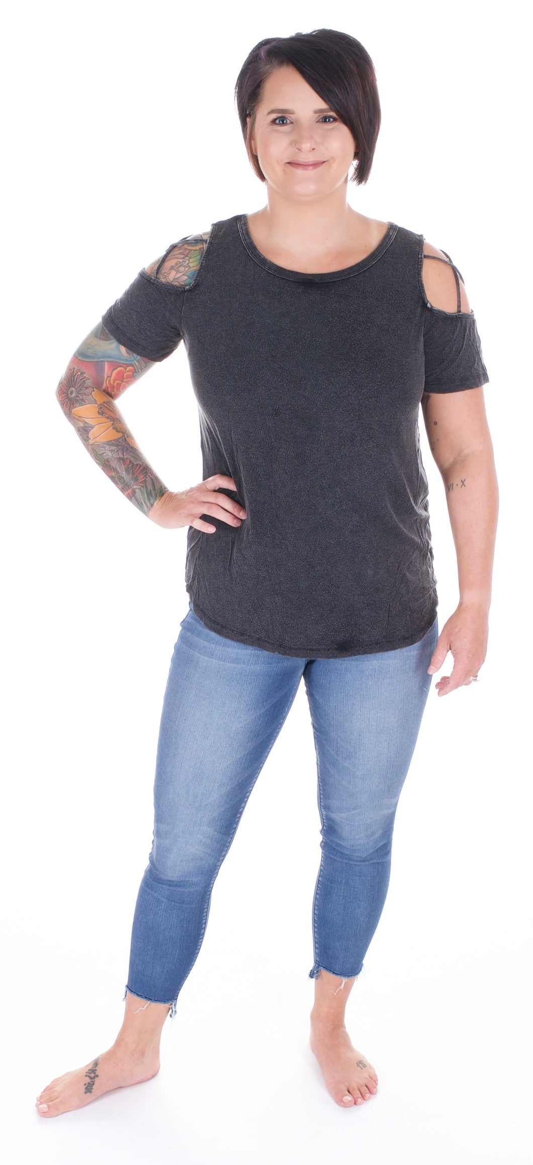 Black Cold Shoulder Tee - Adventurista Boutique