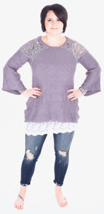 Crochet Detail Sweater in Smoke - Adventurista Boutique