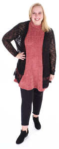 Cardigan with Ruffle Lace Hem - Adventurista Boutique