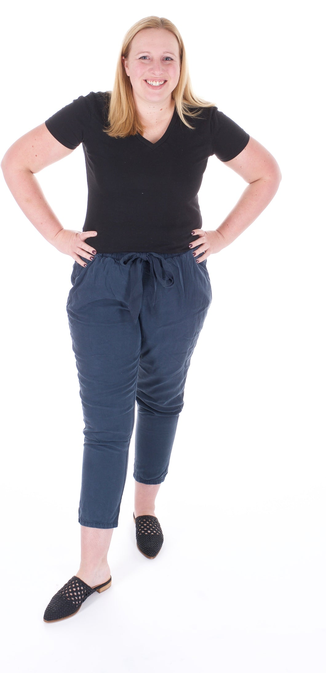 Vintage Washed Navy Waist Tie Capris - Adventurista Boutique