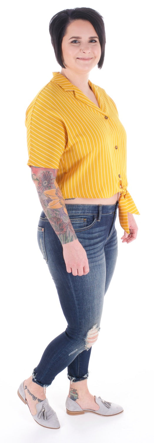 Mustard Yellow Button Down Blouse - Adventurista Boutique