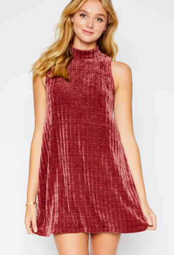 Mock Turtle Neck Chenille Dress in Red - Adventurista Boutique