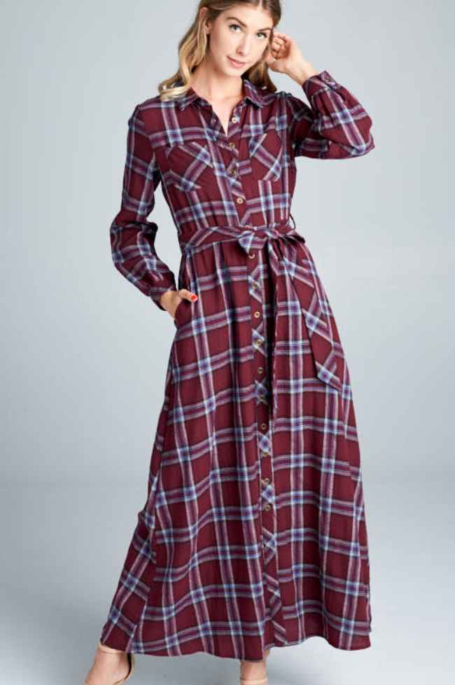 Plaid Flannel Maxi Dress - Adventurista Boutique