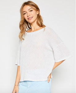 Knit Grey Short Sleeve Top - Adventurista Boutique
