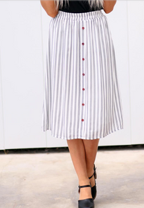 Striped Button Skirt - Adventurista Boutique