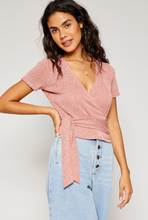 Scarlet Wrap Knit Top in Desert Rose - Adventurista Boutique