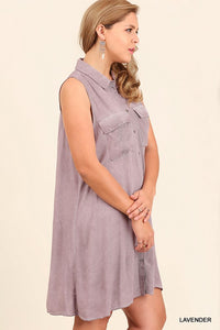 Sleeveless Lavender Button Down Tunic - Adventurista Boutique