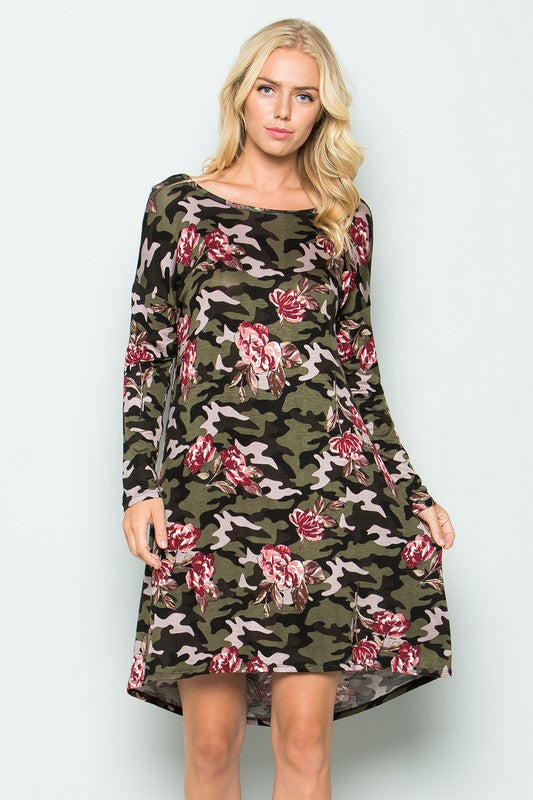 Camo Floral Dress - Adventurista Boutique