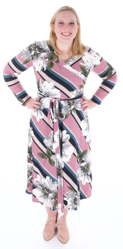 70's Inspired Floral Stripe Wrap Midi Dress (Super Soft and stretchy!) - Adventurista Boutique