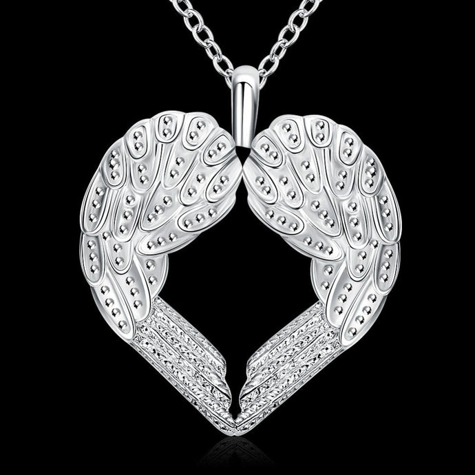Guardian Angel Wings Silver Plated Necklace