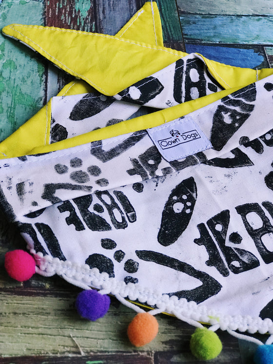 Surfs Up Dog Bandanna | Fringed Pom Poms